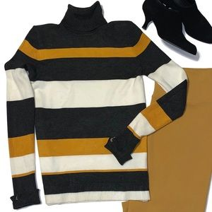 Joseph A Striped Turtleneck Sweater Gray/Mustard S